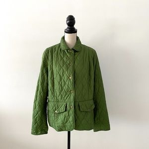 Barbour Quilted Padded Diamond Green Jacket Size14